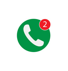 Phone icon one missed call sign white on green vector