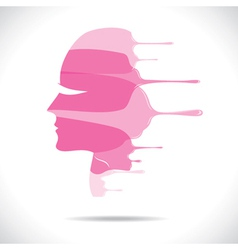 pink painted beautiful women face vector image