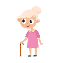 portrait of cute old woman with stick isolated on vector image
