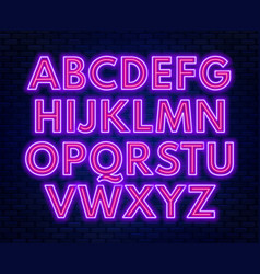 purple pink neon alphabet on a dark background vector image