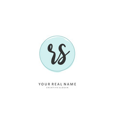 r s rs initial letter handwriting and signature vector image
