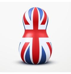 Russian tradition matrioshka dolls in British flag vector image