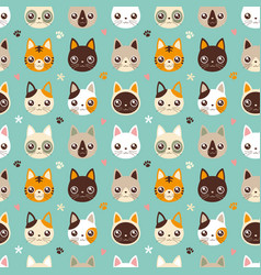 Seamless pattern face cat vector