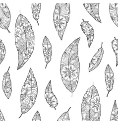 Seamless pattern of bird feathers with ornament vector