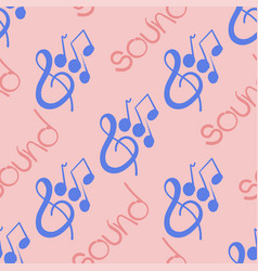seamless pattern with violin key and notes vector image