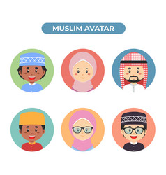 Set 6 muslim avatar vector