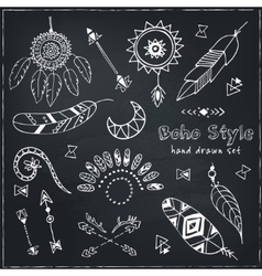 set boho chic style elements vector image