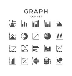 set line icons graph and diagram vector image