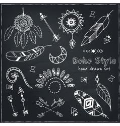 Set of Boho Chic Style Elements vector image
