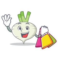 Shopping turnip character cartoon style vector