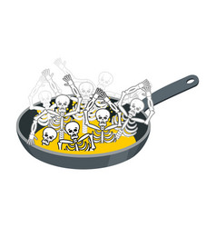 sinner fry in pan skeleton in boiler cook sinners vector image