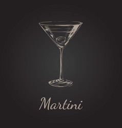 sketch martini cocktails with olives hand vector image