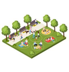 Social distancing in city park vector