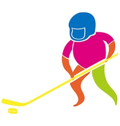Sport icon with man playing hockey vector