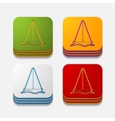 square button sailboat vector image