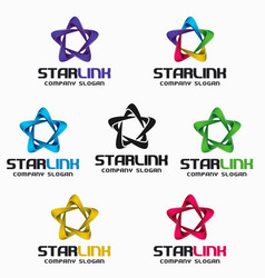 star link - 3d infinity star logo template vector image