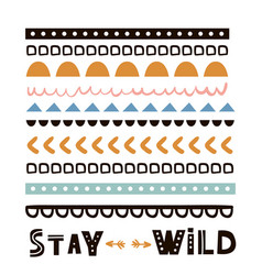 stay wild quote design t-shirt print tribal vector image