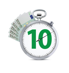 stopwatch with hundred euro banknote speed money vector image