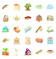 Structured icons set cartoon style vector