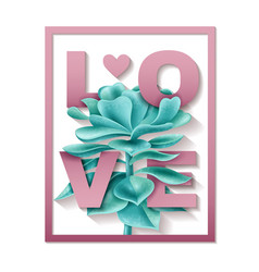 Succulent love frame vector