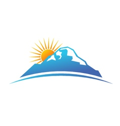 Sunny mountain logo vector