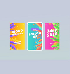 Trendy multicolor background with leaf and palm vector
