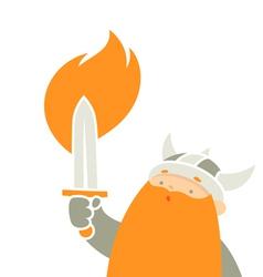 Viking holding sword vector