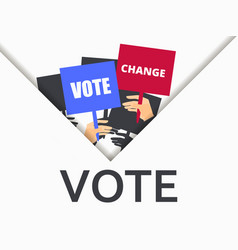 voter support people with posters check mark vector image