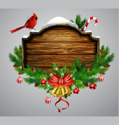 wooden christmas board vector image vector image