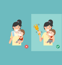 wrong and right ways playing with kids smartphone vector image