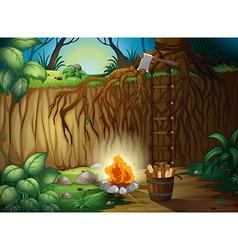A bonfire in the jungle vector
