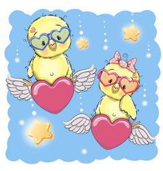 cute lovers chickens vector image