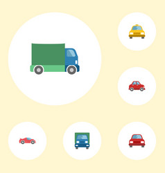 flat icons cab truck luxury auto and other vector image vector image