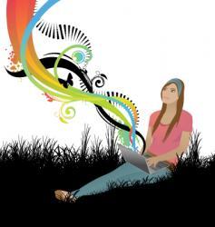 girl spring vector image