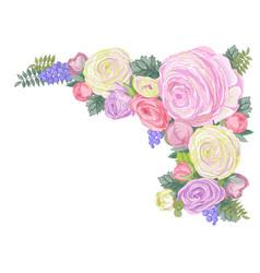 horizontal card with gentle ranunculus flowers vector image