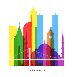 istanbul landmarks bright collage vector image vector image