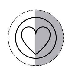 monochrome contour circular sticker with heart vector image vector image