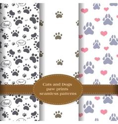 pet paw prints patterns set vector image
