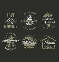 set of mountain and scouting badges climbing vector image vector image