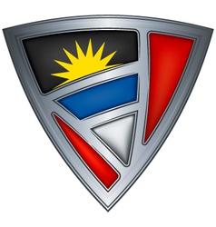 steel shield with flag antigua and barbuda vector image