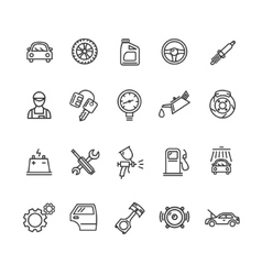 Car Service Outline Icons Set vector image vector image