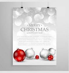 christmas flyer greeting card template for vector image