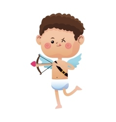 cute little cupid valentine day shooting bow arrow vector image