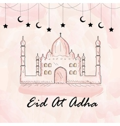 Greeting card for eid ul Adha Watercolor style vector image
