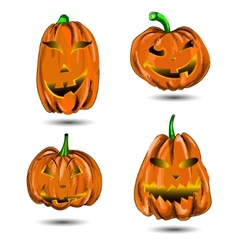 Halloween Pumpkin set isolated on white Scary Jack vector image