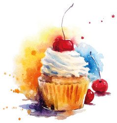 Hand painted watercolor cherry muffin vector image