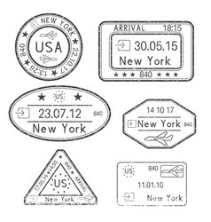 passport stamps arrival to new york usa black vector image