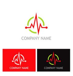 pulse heart beat health logo vector image vector image