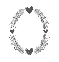 rustic feathers with hearts decoration vector image vector image