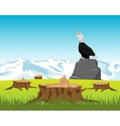 Sawed down wood and eagle on stone vector image